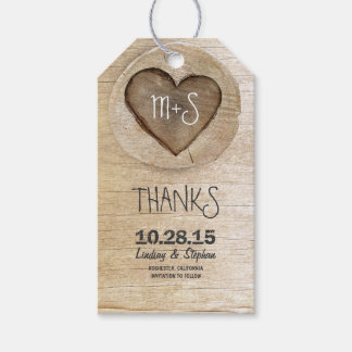 Carved Wood Heart Rustic Country Wedding Pack Of Gift Tags
