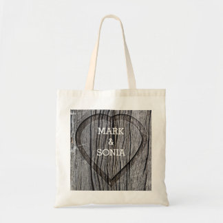 Carved Wood Heart Rustic Wedding Tote Bag