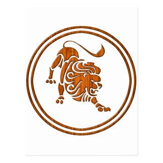 Carved Wood Leo Zodiac Symbol Postcard