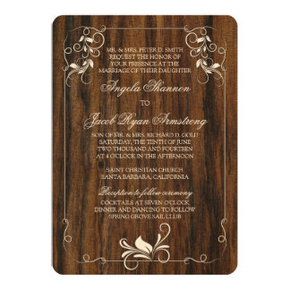 Carved Wood Look Ivory Floral Wedding Invitation