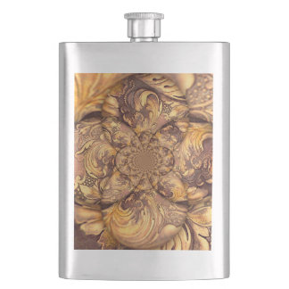 Carved Wood Optical Illusion Brown Honey Neutral Flask
