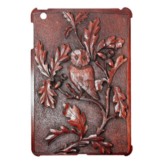 carved wood owl ipad mini case