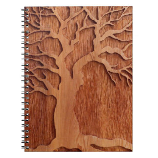 Carved Wood Planner Notebook