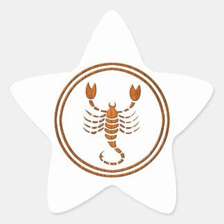 Carved Wood Scorpio Zodiac Symbol Star Sticker