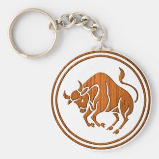 Carved Wood Taurus Zodiac Symbol Basic Round Button Keychain