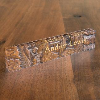 Carved wooden oriental look nameplate