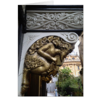 Carving of a faun, Oxford Card