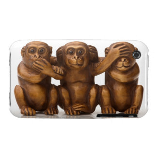 Carving of three wooden monkeys iPhone 3 case