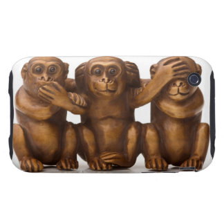 Carving of three wooden monkeys tough iPhone 3 cover