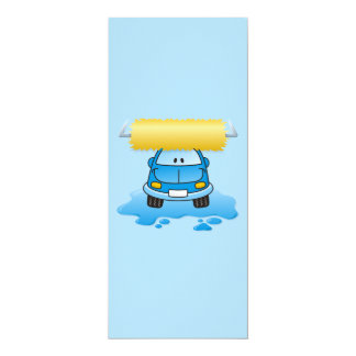 "Carwash cartoon 4"" x 9.25"" invitation card"