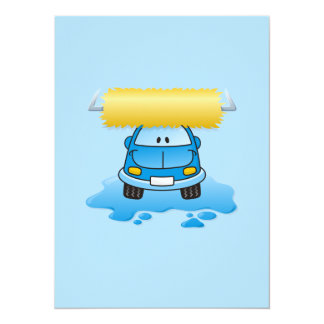 Carwash cartoon 5.5x7.5 paper invitation card