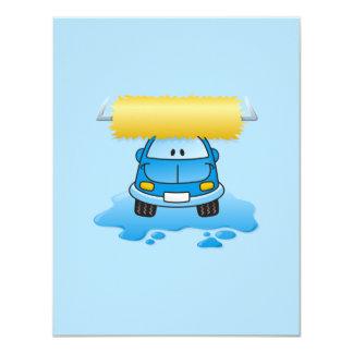 "Carwash cartoon 4.25"" x 5.5"" invitation card"