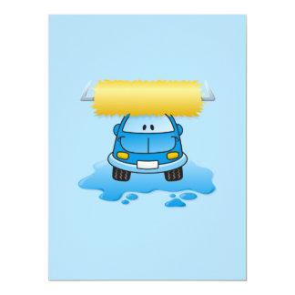 Carwash cartoon 6.5x8.75 paper invitation card