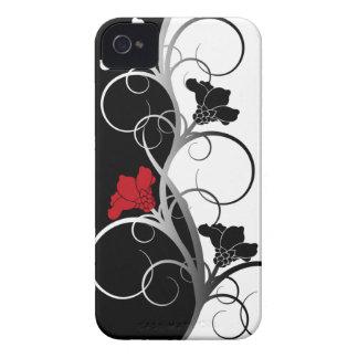 Cas de Coque-Compagnon de l iPhone 4 4S fleurs noi Coque iPhone 4 Case-Mate