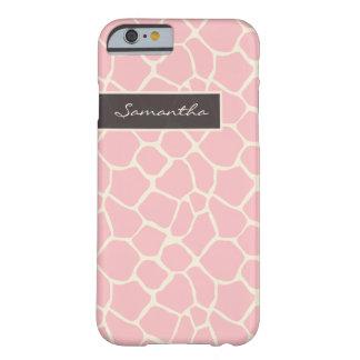 Cas de l'iPhone 6 de motif de girafe (rose) Coque iPhone 6 Barely There