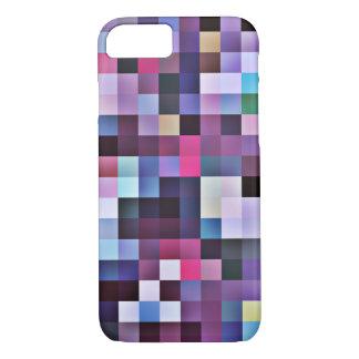 Cas de l'iPhone 7 de carrés de pixel - pourpres Coque iPhone 7