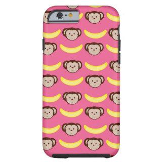 Cas de l'iPhone rose 6 de singe et de banane/ Coque Tough iPhone 6