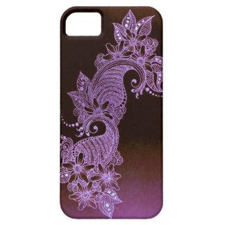 cas floral de mehndi violet de henné coque iPhone 5
