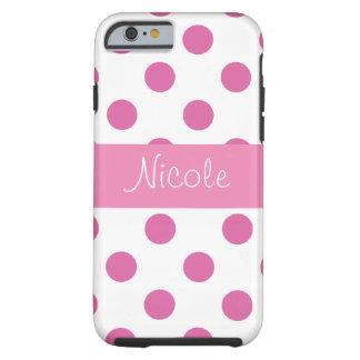 Cas Girly rose de l'iPhone 6 de point de polka Coque Tough iPhone 6