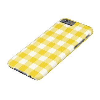 Cas jaune citron de l'iPhone 6 de motif de guingan Coque iPhone 6 Barely There