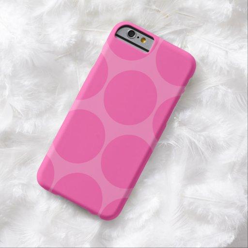 Cas rose de l'iPhone 6 de point de polka Coque iPhone 6 Barely There