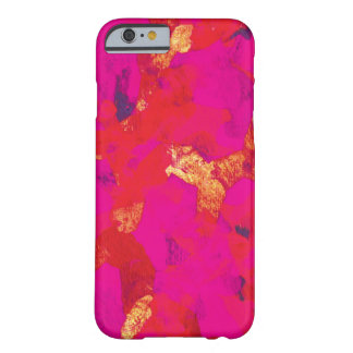 Cas rouge-rose de l'iPhone 6 d'art abstrait Coque iPhone 6 Barely There