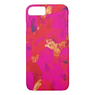 Cas rouge-rose de l'iPhone 7 d'art abstrait Coque iPhone 7
