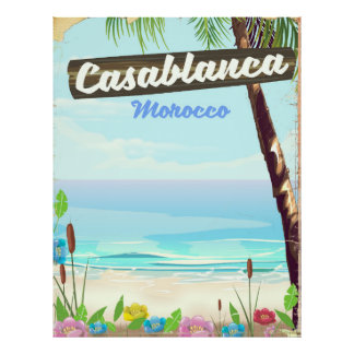 Casablanca Morocco, romantic vintage poster
