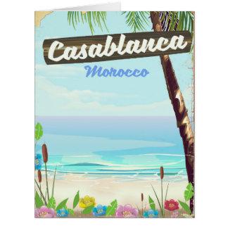 Casablanca Morocco, romantic vintage poster Card