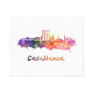 Casablanca V2 skyline in watercolor Canvas Print
