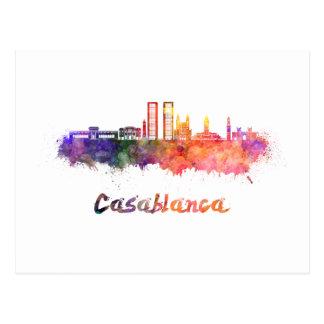 Casablanca V2 skyline in watercolor Postcard