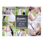 Casamento colagem riscado obrigado cartão post card