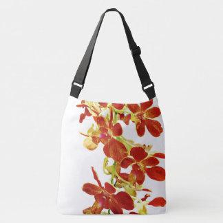 Cascade of Orange Orchids Crossbody Bag