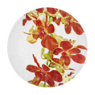 Cascade of Orange Orchids Cutting Board