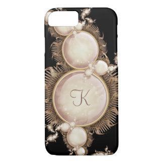 Cascade of Pearls on Black Monogram iPhone 7 Case