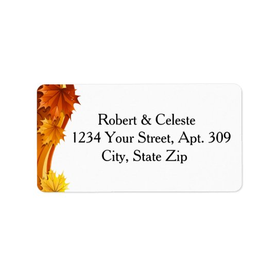 Cascading Autumn Leaves Label