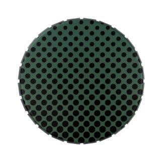 Cascading big to small black circles dark green
