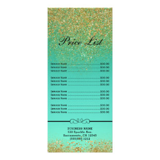 Cascading Gold Glitter  Mermaid Scales Price LIst Rack Card