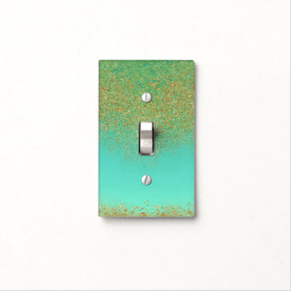 Cascading Gold Glitter Teal Aqua Girly Glam Trendy Light Switch Cover