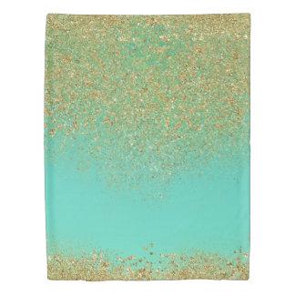 Cascading Gold Glitter & Teal Aqua Glam Trendy Duvet Cover