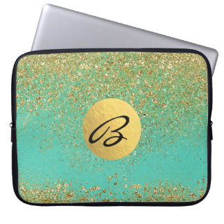 Cascading Gold Glitter Teal Aqua Glam Trendy Laptop Sleeve