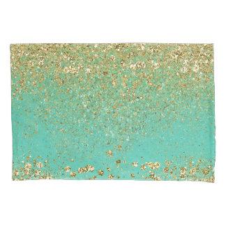 Cascading Gold Glitter & Teal Aqua Glam Trendy Pillowcase