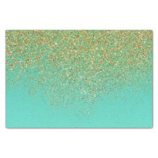 Cascading Gold Glitter & Teal Aqua Glam Trendy Tissue Paper