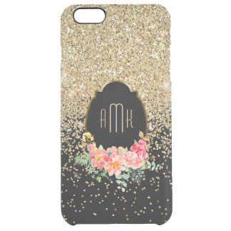 Cascading Gold Glitter with Floral Monogram Clear iPhone 6 Plus Case