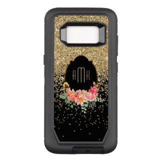 Cascading Gold Glitter with Floral Monogram OtterBox Defender Samsung Galaxy S8 Case