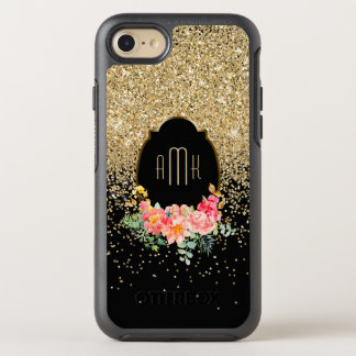 Cascading Gold Glitter with Floral Monogram OtterBox Symmetry iPhone 7 Case