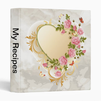 Cascading Roses Gold Heart Binder