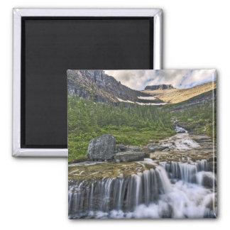 Cascading stream, Glacier National Park, Square Magnet