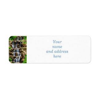 Cascading waterfall custom return address label