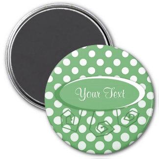 Cascading White circles on lime green Magnet